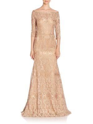 Fit-&-Flare Embroidered Gown