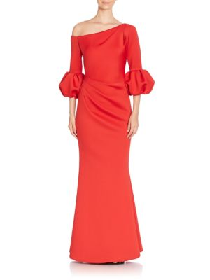 Asymmetrical Flared One Shoulder Gown