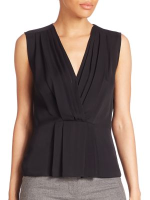Solid Ruched Sleeveless Top by Rebecca Taylor