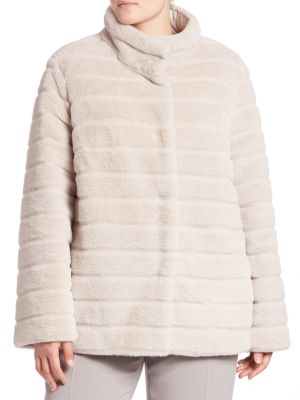 Reversible Faux Fur Coat plus size,  plus size fashion plus size appare