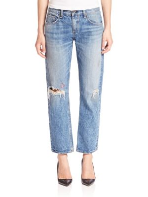 Distressed Boyfriend Cropped Jeans
