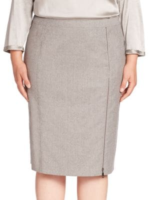 Virgin Wool Blend Pencil Skirt plus size,  plus size fashion plus size appare