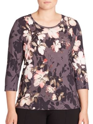 Floral Print Jersey Tee plus size,  plus size fashion plus size appare