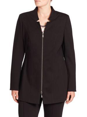 Notched Collar Jersey Jacket plus size,  plus size fashion plus size appare
