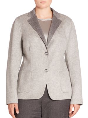Doubleface Wool & Cashmere Blazer plus size,  plus size fashion plus size appare