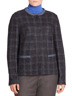 Wool Blend Metallic Tweed Jacket plus size,  plus size fashion plus size appare