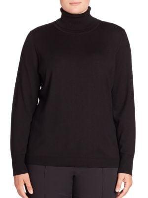 Wool & Silk Turtleneck Sweater plus size,  plus size fashion plus size appare