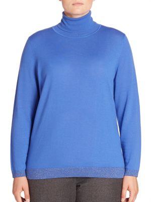 Metallic Trim Turtleneck Sweater plus size,  plus size fashion plus size appare