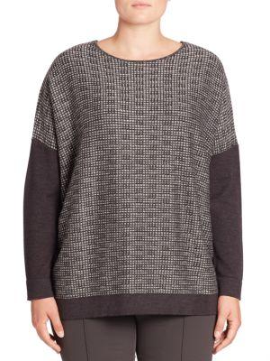 Virgin Wool Blend Metallic Trim Tunic Sweater plus size,  plus size fashion plus size appare