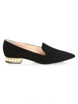 Casati Pearly Heel Suede Loafers