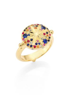 Sorcerer Diamond, Multicolor Sapphire & 18K Yellow Gold Ring