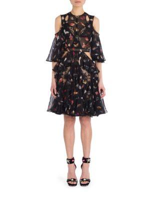 Ruffled Cold Shoulder Silk Blend Dress
