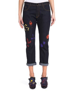 Embroidered Cuffed Jeans