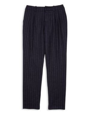 Girl's Pinstriped Wool Blend Trousers