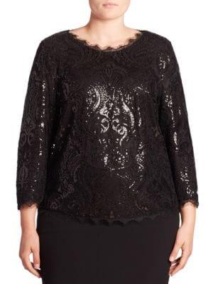 Sequin Lace Blouse plus size,  plus size fashion plus size appare