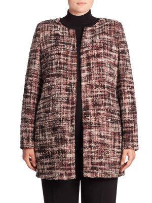 Collarless Tweed Jacket by Basler, Plus Size
