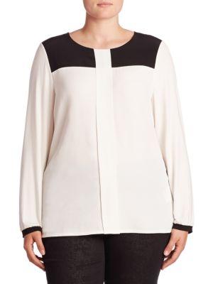 Contrast Yoke Blouse plus size,  plus size fashion plus size appare