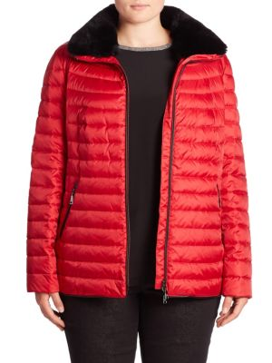 Rex Rabbit Fur-Collar Down Puffer Jacket plus size,  plus size fashion plus size appare