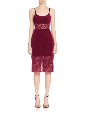 Sheer Panel Lace Sheath Dress