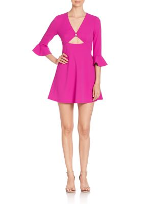 Solid Bell Sleeve Dress with Cutouts