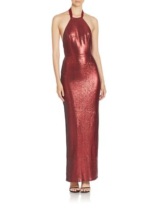 Metallic Halterneck Gown