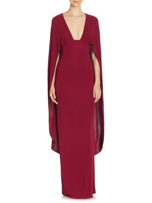 Plunging V-Neck Cape Gown