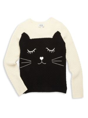 Girl's Merino Wool & Cashmere Cat Graphic Sweater plus size,  plus size fashion plus size appare