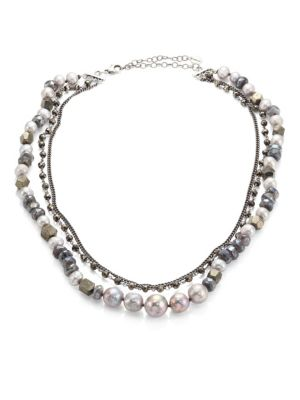 8-10MM Grey Pearl Beaded Triple Layer Necklace