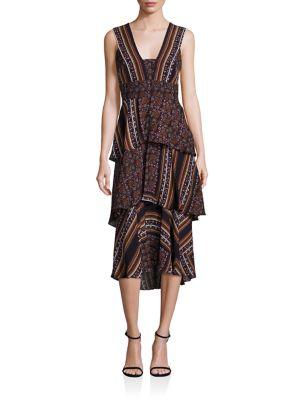 Hayley Scarf-Print Tiered Dress