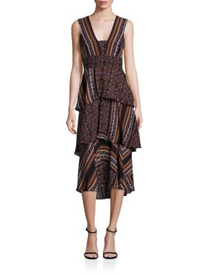Hayley Scarf-Print Tiered Dress