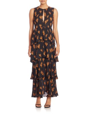 Arias Keyhole Tiered Maxi Dress