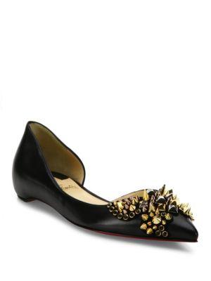 christian louboutin female farfaclou spikes leather dorsay flats