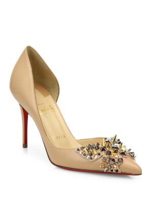 christian louboutin female farfa spikes 85 leather dorsay pumps