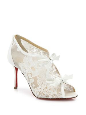christian louboutin female empira 85 lace peep toe pumps