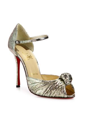 christian louboutin female marchavekel knotted metallic dorsay pumps