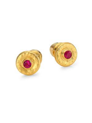 GURHAN Traditional 24K Gold & Ruby Stud Earrings