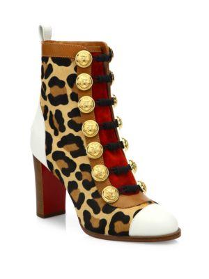 christian louboutin female who dances 85 leopardprint calf hair booties