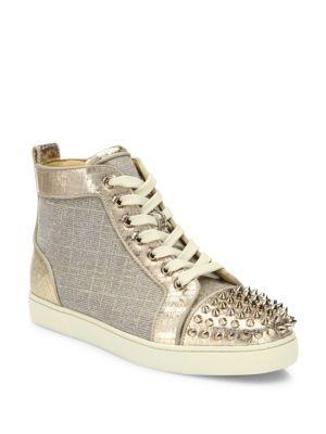 christian louboutin female lou spikes metallic hightop sneakers
