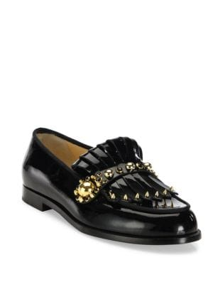 christian louboutin female octavian studded patent leather kiltie loafers