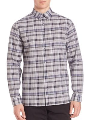 Multi-Plaid Woven Button-Down Shirt