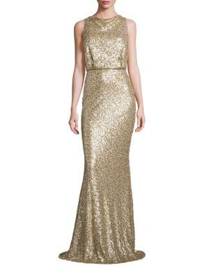 Sequin Blouson Gown