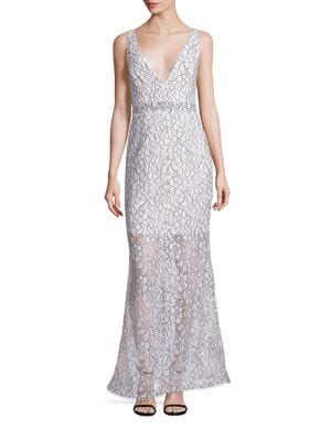 French Lace Deep V Gown