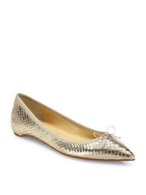 Solasofia Metallic Python-Print Leather Flat