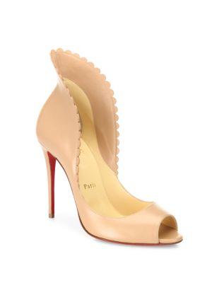 christian louboutin female pijonina scalloped leather peep toe pumps