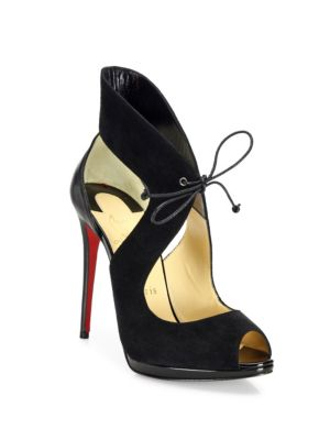 christian louboutin female campanina 120 suede leather fronttie sandals