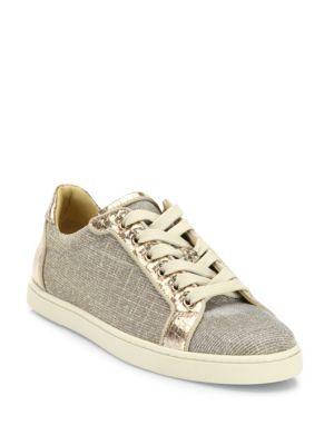christian louboutin female seava glitter metallic leather lowtop sneakers