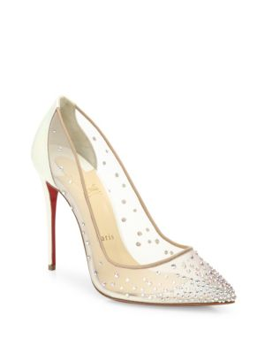 Follies Crystal & Mesh Point-Toe Pumps