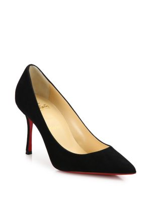 christian louboutin female decoltish 85 suede point toe pumps