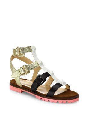 f713f63b4293 ... wholesale christian louboutin rock n buckle colorblock leather gladiator  sandals multi 9e3ad f1304