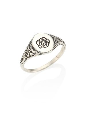 0.925 Silver Engraved Flower Ring